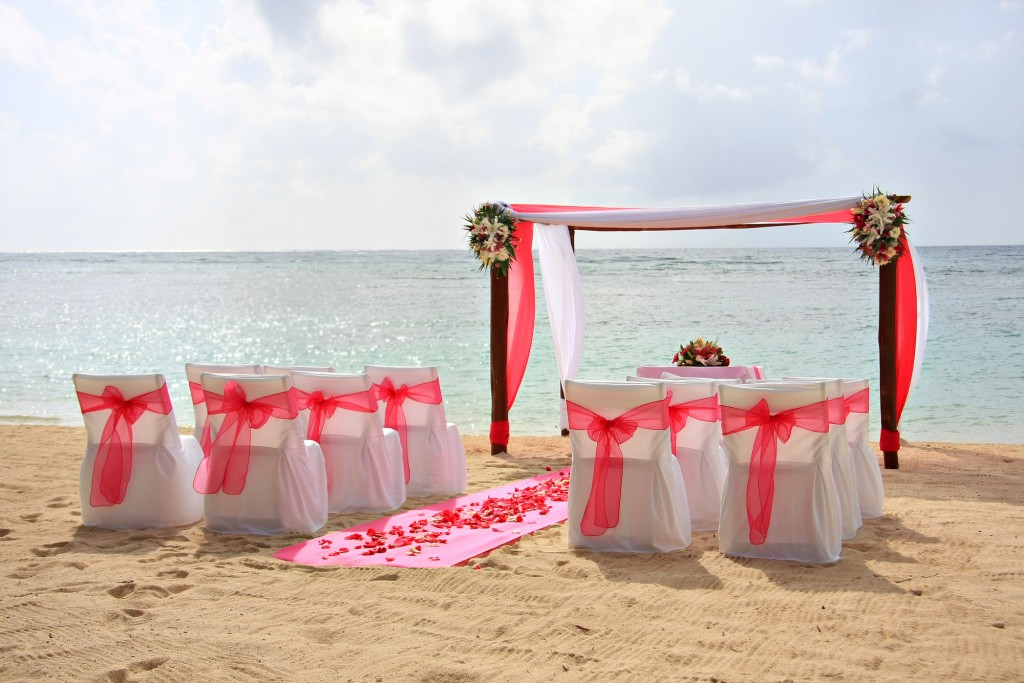 Gazebo and chairs set up for a romantic beach wedding.